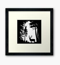 Deer Hunt White Framed Print