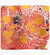 Red and Yellow Marbled Paper Texture Poster