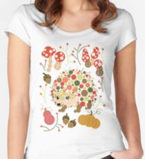 Cute Hedgehog Pretty Fall Season Colorful Circles Graphic Design Women's Fitted Scoop T-Shirt