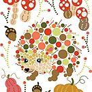 Cute Hedgehog Pretty Fall Season Colorful Circles Graphic Design by DoubleBrush