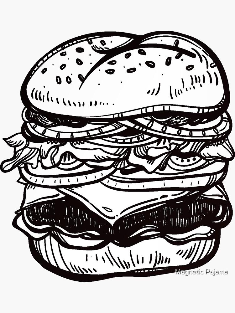 Cheeseburger Hand Drawn Food Art by MagneticMama