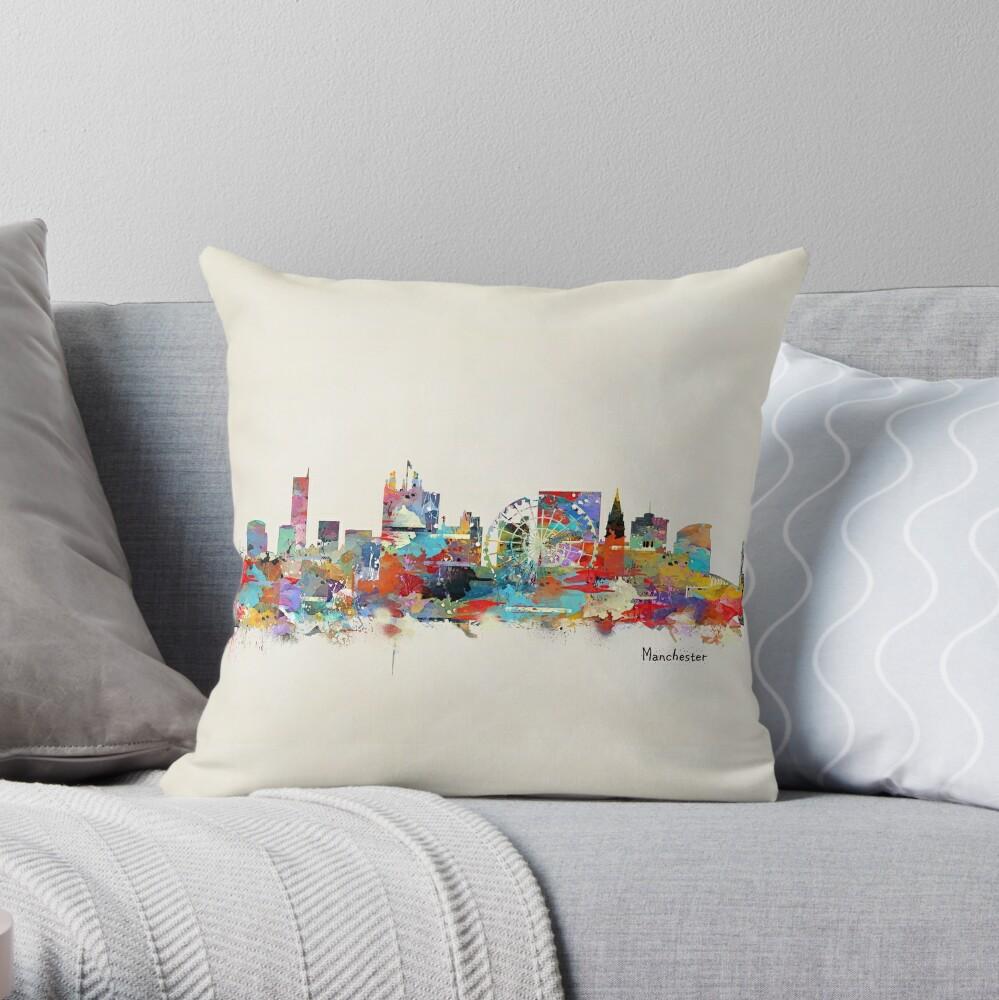 Manchester Skyline Throw Pillow By Bri B Redbubble