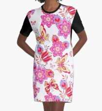 Cute pink butterflies on a white background Seamless Pattern Graphic T-Shirt Dress
