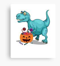 Halloween Sneak Dinosaur Funny  Halloween Candy Canvas Print
