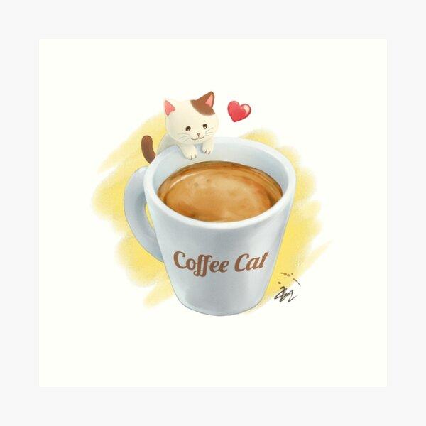 A Glass of Coffee Cat Art Print