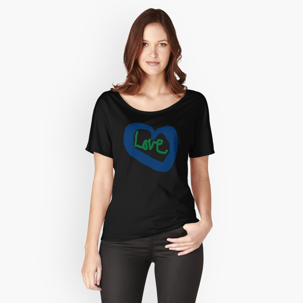 Love Heart Blue Heart T-Shirt Relaxed Fit T-Shirt