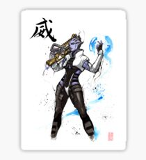 Aria from Mass Effect sumi and watercolor style Sticker