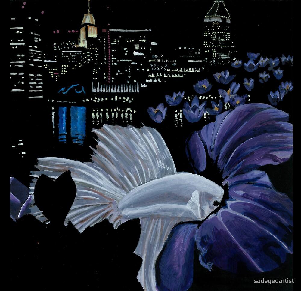 Fish and Flowers (Purple/Black) by sadeyedartist
