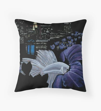 Fish and Flowers (Purple/Black) Throw Pillow