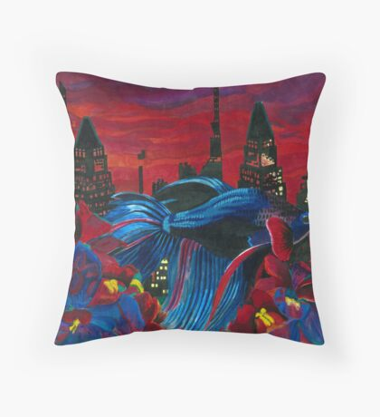 Fish and Flowers (Magenta/Blue) Throw Pillow