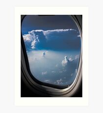 blue sky through aeroplane window  Art Print