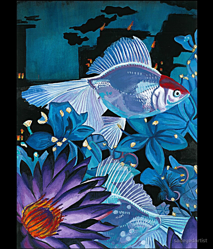 Fish and Flowers (White/Blue) by sadeyedartist