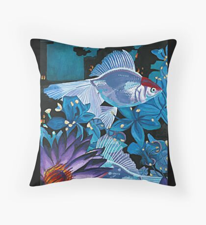 Fish and Flowers (White/Blue) Throw Pillow