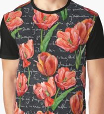 Floral Watercolor Seamless Tulip Pattern (Vintage) Graphic T-Shirt