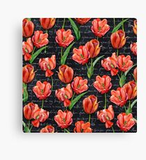 Floral Watercolor Seamless Tulip Pattern (Vintage) Canvas Print