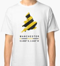 Manchester GPS Bee Map Classic T-Shirt