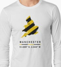 Manchester GPS Bee Map Long Sleeve T-Shirt