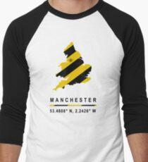Manchester GPS Bee Map Men's Baseball ¾ T-Shirt