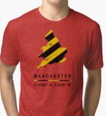Manchester GPS Bee Map Tri-blend T-Shirt