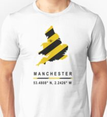 Manchester GPS Bee Map Slim Fit T-Shirt