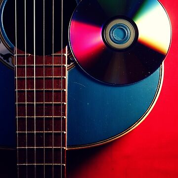 Blue acoustic guitar and cd by junpinzon