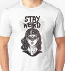 """Stay Weird"" Girl with Crescent Moon and Butterfly Mask T-Shirt"