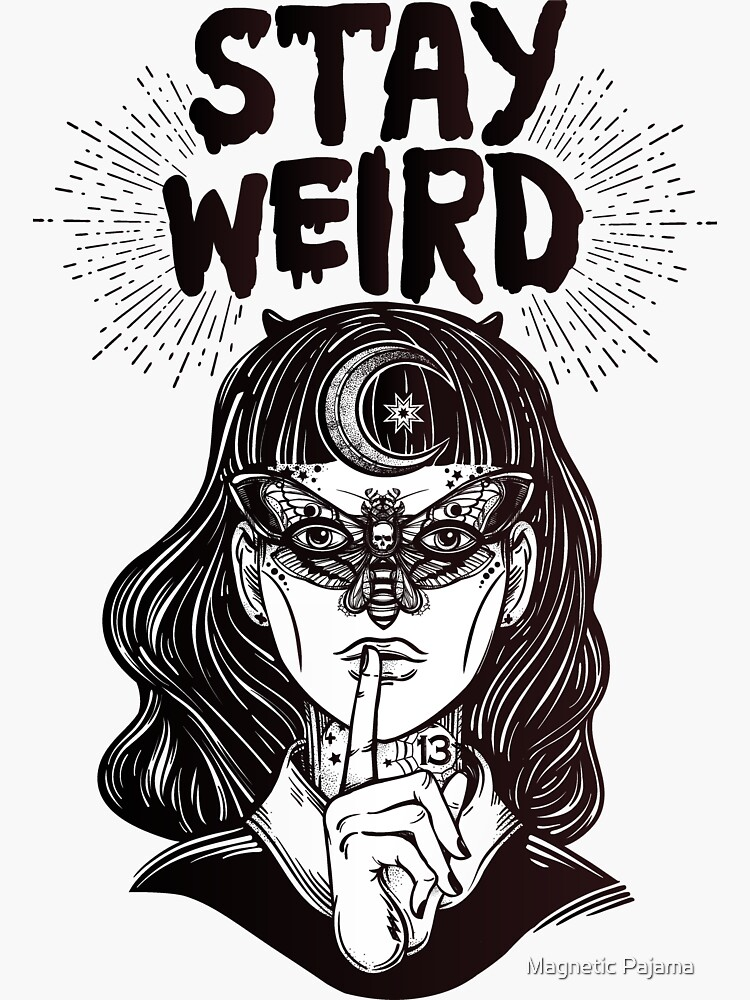 """""""Stay Weird"""" Girl with Crescent Moon and Butterfly Mask by MagneticMama"""