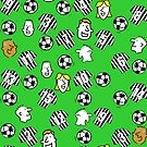 Cartoon Footballs, Black & White Striped Shirts, & Fans by Nigel Sutherland