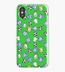 Cartoon Footballs, Blue & White Striped Shirts, & Fans iPhone Case/Skin