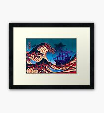 Ghost Pirate Ship Rides The Great Wave - Monkey Island Framed Print