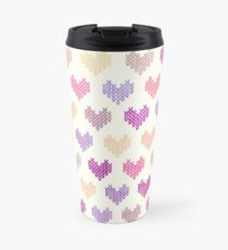 Colorful Knitted Hearts VIV Travel Mug