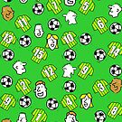 Cartoon Footballs, Green & Yellow Striped Shirts, & Fans by Nigel Sutherland