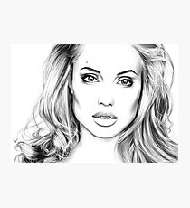 Angelina Jolie minimalist art portrait - digital painting Photographic Print