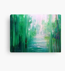 Emerald Hart - a green forest, river and red stag Canvas Print