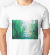Emerald Hart - a green forest, river and red stag T-Shirt
