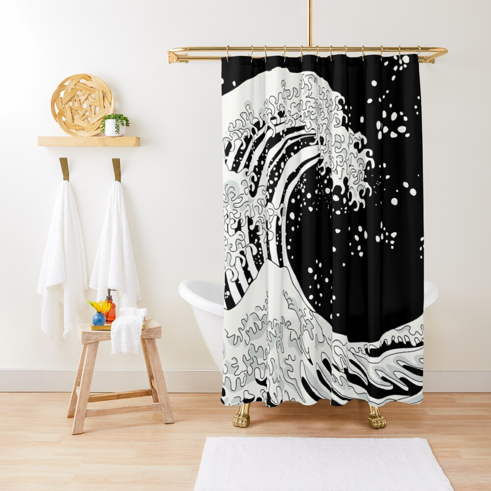 Black and White Great Wave Shower Curtain