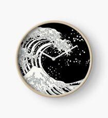 Schwarze und weiße große Welle Uhr
