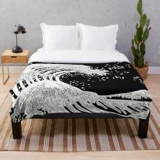 Manta Gran ola en blanco y negro