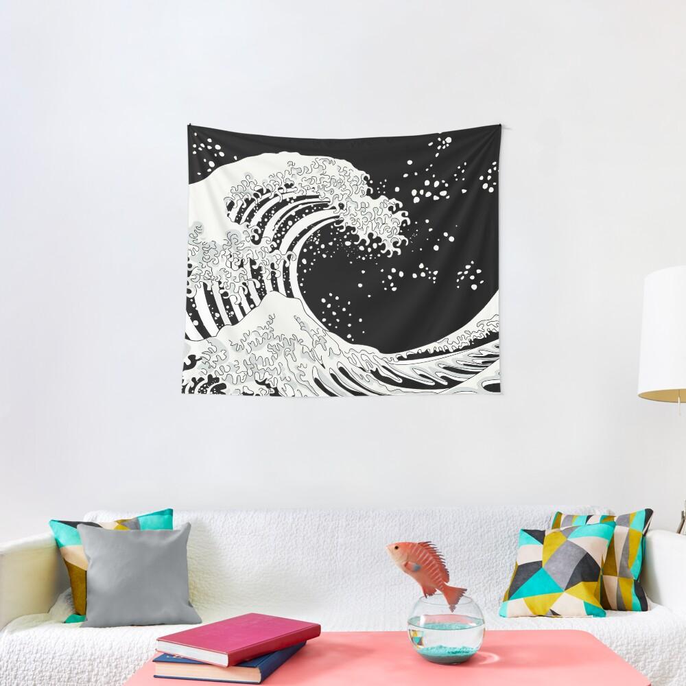 Schwarze und weiße große Welle Wandbehang