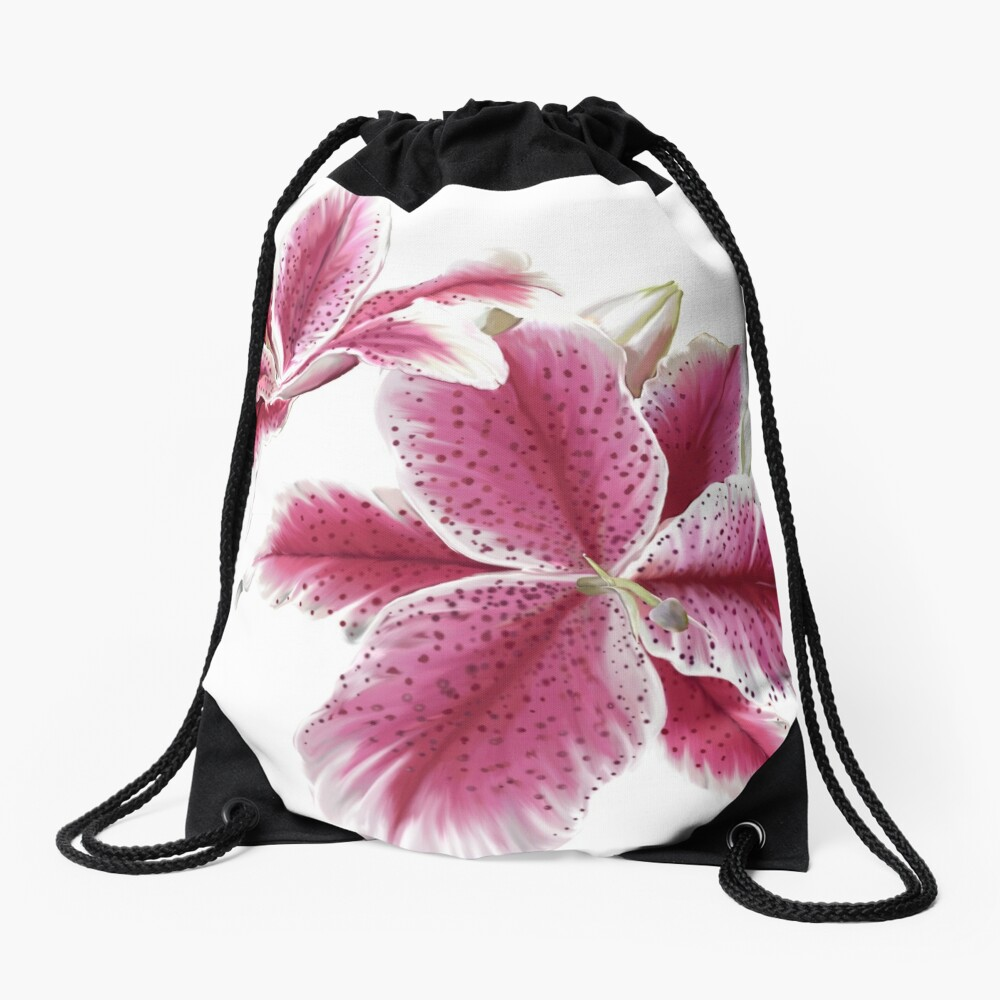 Stargazer Lilly Drawstring Bag Front