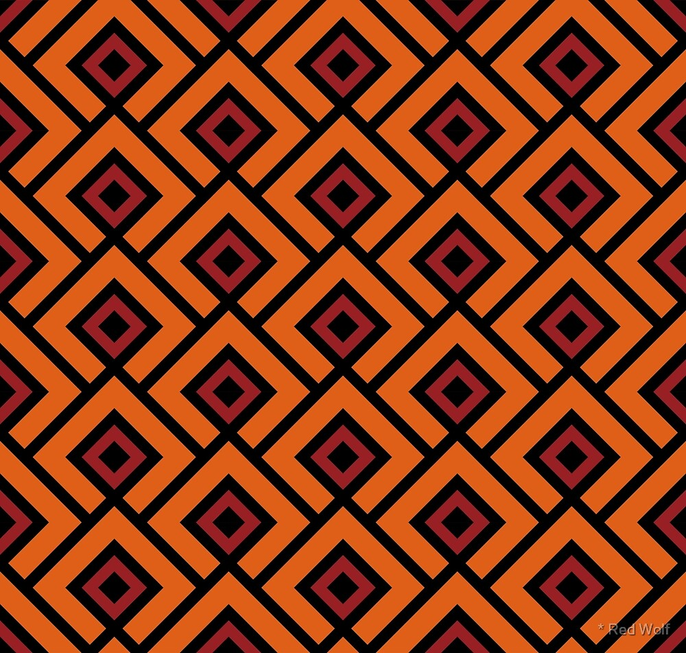 Geometric Pattern: Layered Diamonds: Orange/Red by * Red Wolf
