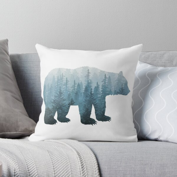 Misty Forest Bear - Turquoise Throw Pillow