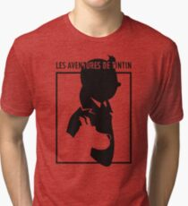 tintin and snowy silouete  Tri-blend T-Shirt