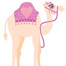 Camel whimsy graphic coral pink by Sarah Trett