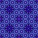 Blue and Purple Fractal Mandala Pattern by Ruth Moratz