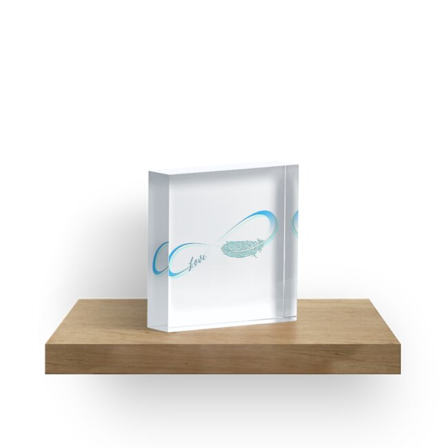 Infinity Symbol With Feather Acrylic Blocks By Motivateme Redbubble