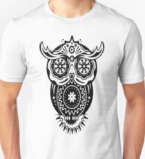 an owl with different decorations in the style of the Mexican Sugar Skulls T-Shirt