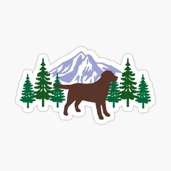 Chocolate Labrador Silhouette Evergreen Sticker
