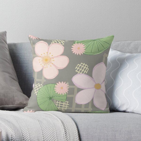 Zen Floral - Cherry Blossoms, Water Lilies and Lily Pads - Grey Throw Pillow