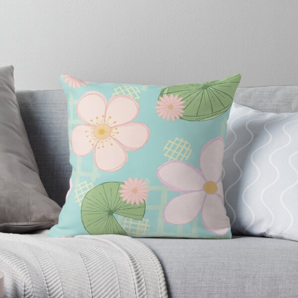 Zen Floral - Cherry Blossoms, Lily Pads and Water Lilies - Light Blue Throw Pillow